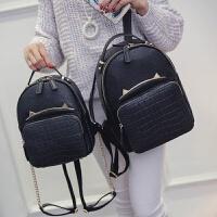 韩版鳄鱼纹双肩包女学院风链条背包书包包旅行包皮包休闲
