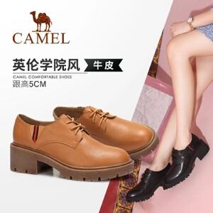 骆驼女鞋 2018新款秋季学院风真皮粗跟舒适单鞋 中跟系带休闲鞋女