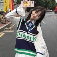 秋季韩版学院风宽松字母刺绣针织马甲背心+喇叭袖百褶衬衣女套装