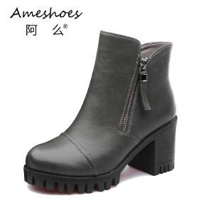阿么女鞋复古风擦伤粗跟侧拉链短筒短靴