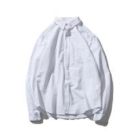 新款秋装纯色牛津纺白衬衫男士日系复古修身休闲青少年衬衣