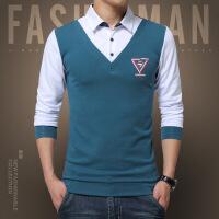 男士衬衫男土寸衫保暖加绒加厚青年假两件帅气长袖修身潮流韩版