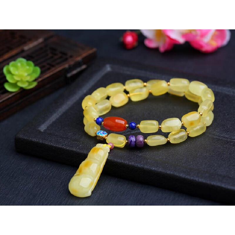 天然波罗的海蜜蜡随形设计2圈手链  蜡质饱满无优化 质地细腻