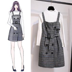 VIPEBUY 小香风背带裙+毛衣 套装裙女2018秋冬新款时尚连衣裙两件套装裙