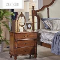 ZUCZUG实木床头柜美式床头柜三门欧式原木 收纳储物柜美式家具