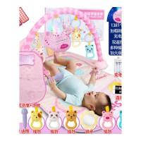 脚踏钢琴婴儿健身架器新生儿宝宝音乐游戏毯玩具0-1岁3-6-12个月 抖音 【枕席】大号彩盒版投影飞船话筒手机1381