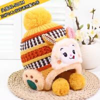 儿童帽秋冬季卡通宝宝帽子潮男女童加绒保暖针织护耳帽婴儿毛线帽 黄色 (小猴子) 均码