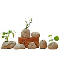 粗陶陶瓷禅意办公室水培小花插桌面花瓶迷你中式摆件 一套7个