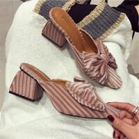 韩版丝绒布料粗跟鞋女包头半拖鞋气质大蝴蝶结穆勒鞋甜美后空拖鞋