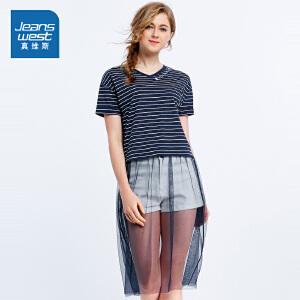 [尾品汇价:57.9元,20日10点-25日10点]真维斯女装 夏装 全棉织间拼网纱V领短袖T恤