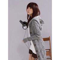 春秋装新款韩版女装中长款麻花修身显瘦格子帽毛衣开衫外套