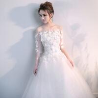 中袖婚纱礼服2018新款韩版蕾丝一字肩大码孕妇显�C花朵齐地白纱
