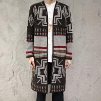 春季中国风男装中长款风衣男士花色毛呢外套复古民族风大衣披风 图色