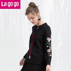 Lagogo/拉谷谷2018年春季新款时尚圆领刺绣长袖卫衣