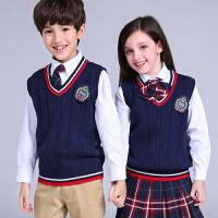 儿童毛线背心男童女童毛衣针织马甲英伦中小学生校服长袖开衫 深蓝色 毛线背心 红白条