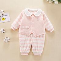 新生儿连体衣服0-3个月6初生婴儿哈衣春秋冬季夹棉保暖薄棉衣