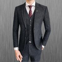 №【2019新款】冬天穿的羊毛西服套装男新郎伴郎结婚礼服男士商务休闲厚款西装三件套