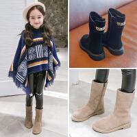 女童靴子2018冬季新款儿童真皮公主高筒靴小女孩保暖长靴潮