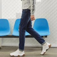【全场2件2.5折,到手价:59.8】美特斯邦威牛仔裤男士冬装新款街头素色直筒牛仔裤商场款