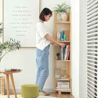 转角架实木书架置物架多层落地收纳架客厅创意墙角花架简易三角架