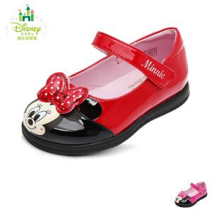 【清仓特惠】迪士尼Disney童鞋婴童学步鞋米妮小公主婴儿鞋宝宝学步小皮鞋时装鞋 DH0205红色(0-4岁可选)  DH0205