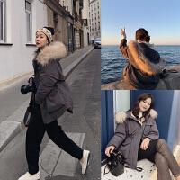韩版外套冬季保暖上衣高级中长款潮女士貉子毛领短款仿羽绒服女韩版2018新款时尚小个子宽松外套冬季新款