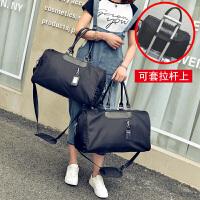 短途旅行包女手提行李袋男大容量牛津布行李包轻便防水运动健身包 黑色 小