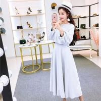 韩版小香风春装新款甜美名媛泡泡袖上衣+修身A字裙两件套女