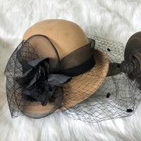 礼帽女时尚毛呢秋冬季女士纯羊毛呢毡帽宽檐卷边盆帽复古优雅网纱帽子 可调节