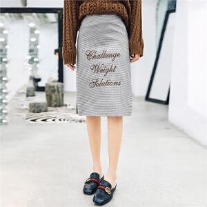七格格黑白格子半身裙秋女2018新款中长款裙子开叉一步裙花苞裙夏