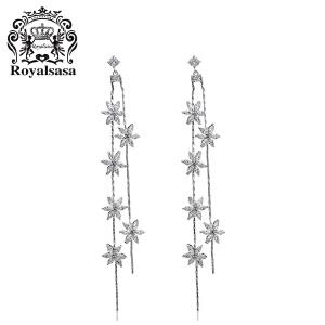皇家莎莎耳钉耳饰品 仿水晶长款小花流苏耳饰耳环女气质