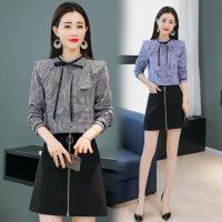 2018春季新款女装韩版气质时尚套装裙时髦两件套连衣裙格子衬衫裙 黑白格套装 M