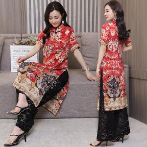 中国风改良旗袍2018夏装新款女装民族风中长款复古雪纺连衣裙套装
