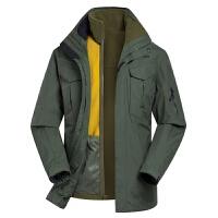 战地吉普户外秋冬新款冲锋衣男三合一保暖两件套登山服男防水外套