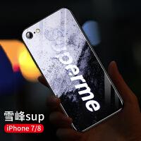 星空苹果8plus手机壳7plus发光玻璃iphone7新款闪光8p潮牌文字8超薄硅胶6全包防摔八网 苹果7/8 雪峰