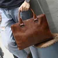 韩版休闲男包手提包男士公文包包新款潮牌单肩包男斜挎包有型 棕色