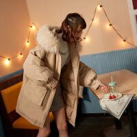 №【2019新款】冬天美女穿的2018冬装新款女羽绒服韩版中长款连帽大毛领加厚外套女