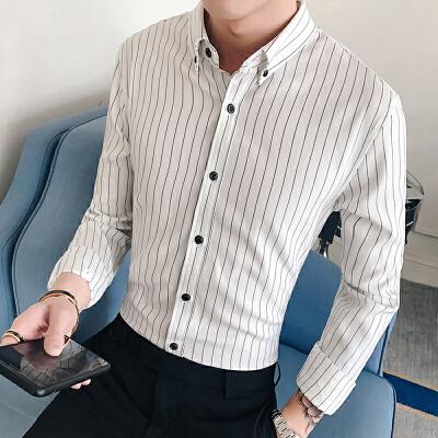 春季新款潮流男装条纹气质商务个性休闲衬衫韩版衬衣