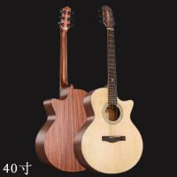2018新款 民谣吉他40寸41寸云杉单板吉他木吉他 jita云杉桃花心单板