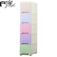 门扉 夹缝收纳柜 厨房浴室免安装抽屉式窄柜整理柜多功能带轮便捷彩色可叠加收纳柜收纳盒