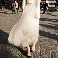 2018新款春季网纱裙半身裙长裙中长款韩版夏季蓬蓬仙女裙子百褶裙