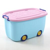 特大号收纳箱儿童卡通整理箱塑料衣服玩具储物筐宝宝带轮收纳盒子