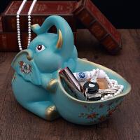 创意大象进门口鞋柜桌面收纳装饰品摆件家居玄关放钥匙收纳盘