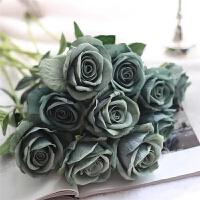 单支仿真玫瑰花假花高档客厅餐桌装饰花干花花束摆件摆设
