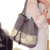 新款韩版潮帆布包女包单肩包手提包休闲百搭简约女士水桶包包