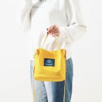 日系文艺简约森系复古学院风字母帆布包斜跨单肩包手提包小水桶包