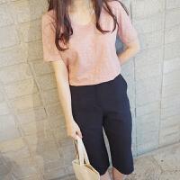 纯棉短袖t恤女2018夏季新款韩版竹节棉学生大码宽松打底衫纯色显瘦上衣