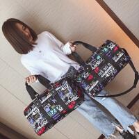 短途旅行包女韩版手提行李袋大容量出差行李包尼龙轻便健身包 黑色