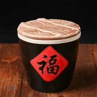 福字缸餐桌摆件小水缸带盖汤盅陶瓷储物调料缸调味罐酱缸创意菜缸