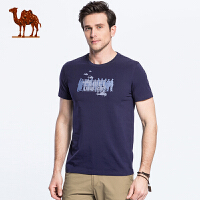 骆驼 2018夏季新品时尚休闲男士青年棉质印花圆领短袖T恤